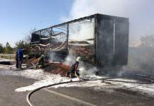 Fındık yüklü TIR yandı, 1 milyonluk liralık zarar oluştu